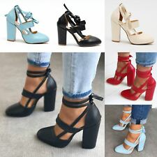 Womens Block High Heels Sandals Ladies Ankle Strappy Lace Up Shoes Size UK3-7.5