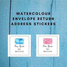 Personalised Return Address Labels Stickers | Watercolour Envelope | AD400