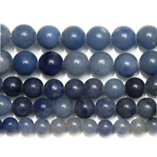 5 Strand Natural Blue Aventurine Smooth Round Ball Gemstone Loose Beads 15""