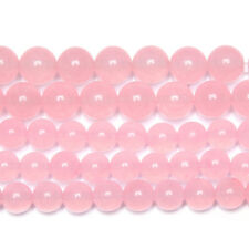 5 Strand Natural Pink Chalcedony Smooth Round Ball Gemstone Loose Beads 15""