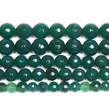 """5 Strand Natural Green Onyx Faceted Round Ball Gemstone Loose Spacer Beads 15"""""""