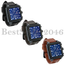 Fashion Waterproof Square Black Dial Date Mens Leather Quartz Analog Wrist Watch