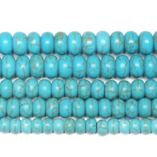 """5 Strand Howlite Blue Turquoise Smooth Rondelle Gemstone Loose Spacer Bead 15"""""""