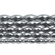 """5 Strand Natural Hematite Faceted Marquise Rice Gemstone Loose Spacer Beads 15"""""""