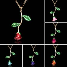 Fashion Rose Flower Pendant Necklace Long Sweater Chain Jewelry Women Party Gift