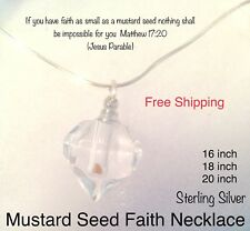Baptism Mustard Seed Necklace Sterling Silver Glass Heart Religious Jewelry