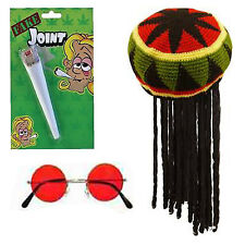 Rasta Man Fancy Dress Jamaican Hat Wig Spliff Glasses Dreadlocks Caribbean Bob
