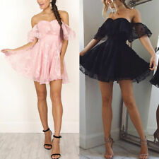 Off Shoulder Ruffle Mini Swing Dress for Women Wedding Bridesmaid Pageant Party