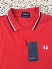 FRED PERRY - Red - Cotton Pique - Sleeveless - Polo Shirt - L - New with Tag