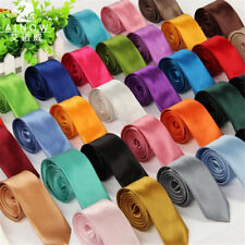 Necktie Slim Skinny 1Pcs Classic Wedding Solid Plain Satin Mens Fashion Neck