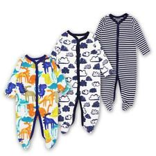 Printed Rompers Long Sleeves Cotton Pajamas Baby Newborn Sleep Clothes 3 Pieces