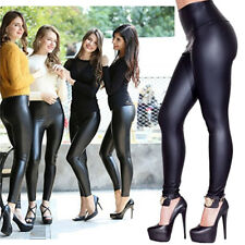 Womens Sexy Faux Leather High Waist Tight Leggings Trousers Skinny Pants Black
