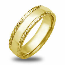 14K-18K White Or Yellow Gold Polished Rope Design Mens Wedding Band