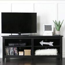 TV Storage Console Stand Black Media Entertainment Center Wood Screen Cabinet