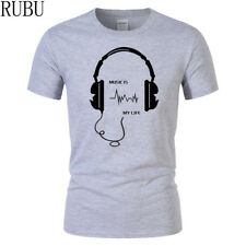 Cotton Tops Short Sleeve Men T-shirt Fashion Headset Cartoon Printed Casual Club