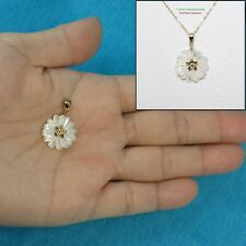 14k Solid Yellow Gold Hand Carved Mother of Pearl Hawaiian Plumeria Pendant TPJ