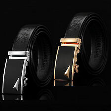 New Men Automatic Buckle Belts Black Genuine Leather Waist Strap Belt Waistband