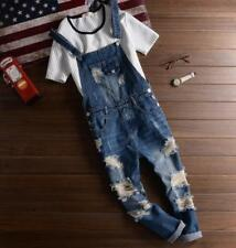 Fashion Mens Denim Dungarees Ripped Jeans Bib Overalls Coveralls Jumpsuit Pants