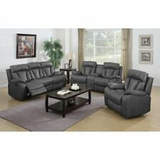 NH Designs 72004 Gray Bonded Leather Sofa Recliner & Loveseat Set