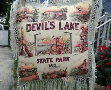 Vintage Devils Lake Wisconsin Souvenir Pillow Pulled and Knotted Fringe Trim EC