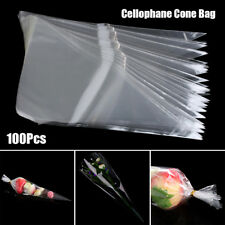 100 X Clear Cellophane Cone Bags Twist Ties Large Kid Party Sweet Cello Candy US