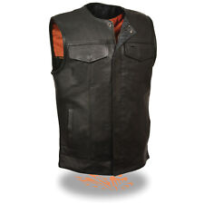 Milwaukee SOA Men's Collarless Naked Leather Vest w/ Snap & Zipper Front MLM3511