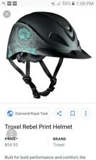 TROXEL HORSE RIDING HELMET TURQUOISE ROSE DURATEC ENGLISH WESTERN LOW PROFILE md