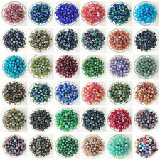 NEW 50PCS 6mm Glass Oblate Pearl Spacer Loose Beads Pattern Jewelry Making