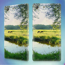 LANDSCAPE WATER MEADOW GREEN HARD BACK CASE FOR SONY XPERIA PHONES