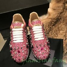 New Womens Shoes Flage Lace Up Athletic Rhinestone PP Sequin Board Shoes Stylish