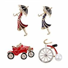 Rhinestone Bicycle Women Kids Creative Style Brooch Pin Fashion Jewelry T-shirt