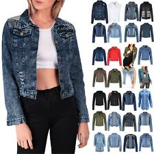 Womens Ladies Button Down Collared Front Pocket Coat Cropped Denim Jacket Top