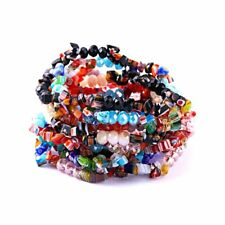 Women Natural Stone Charms Crystal Bangle Elastic Stretch Beads Bracelet Jewelry