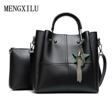 Women 2 pcs/set Handbags Female Tote Bag Tassel Women Solid Shoulder Bags Women