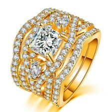 Valentine Crystal Gold Plated Engagement Band Party Finger Ring Set Lady Jewelry
