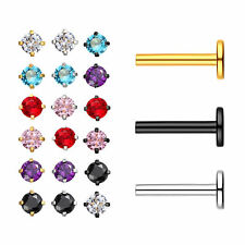 6pc Stainless Steel CZ Tragus Lip Ring Monroe Stud Earring Body Piercing Jewelry