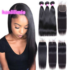 """Brazilian 100% Remy Human Hair Weave 3 Bundles With 4""""*4"""" Lace Closure Straight"""