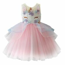 Fancy Unicorn Tulle For Girls Embroidery Ball Gown Baby Dresses Costumes Party