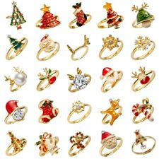 Fashion Women Crystal Pearl Christmas Enamel Finger Rings Jewelry Party Gift Hot