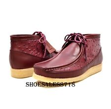 NEW BRITISH WALKERS ORIGINAL EXCLUSIVE OX BLOOD OSTRICH PRINT LEATHER WALLABEES