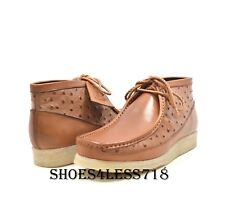 NEW MENS BRITISH WALKERS ORIGINAL EXCLUSIVE TAN OSTRICH PRINT LEATHER WALLABEES