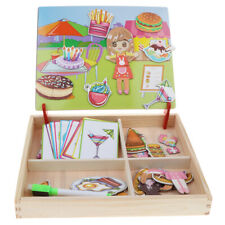 Wooden Toy Magnetic Jigsaw Puzzle Box Card Pattern Match Game Kid Drawing Board