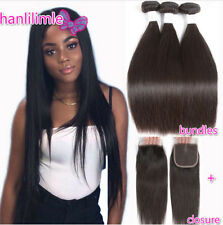 """150G Brazilian 100% Remy Human Hair Weave 3PCS With 4*4"""" Lace Closure Straight"""