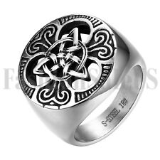 Gothic Men's Stainless Steel Biker Celtic Irish Knot Ring Wedding Band Size 7-14