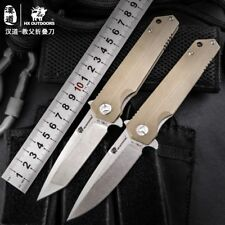 Steel Stone Wash Blade Folding Knife, Camp Hunting Survival Pocket Knife