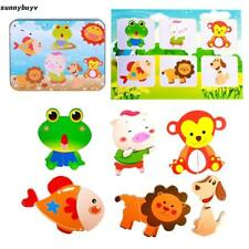 Children Iron Box Wooden Magnetic Jigsaw Puzzle Educational Toy RR3