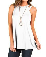 INFITTY Womens Flowy High Neck Tank Tops Summer Loose Strappy Sleeveless Shirts