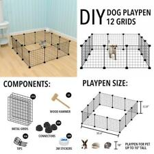 DIY Dog Pet Playpen Puppy Kennel Crate Fence Tent Cage Portable Yard Fence Black