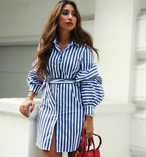 ZARA WHITE BLUE  STRIPE BLOUSE SHIRT DRESS PUFFY SLEEVES TUNIC TOP XS,S,M,L,XL