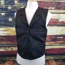 Wyoming Traders Mens Buffalo Leather Western Cowboy Vest - BLACK